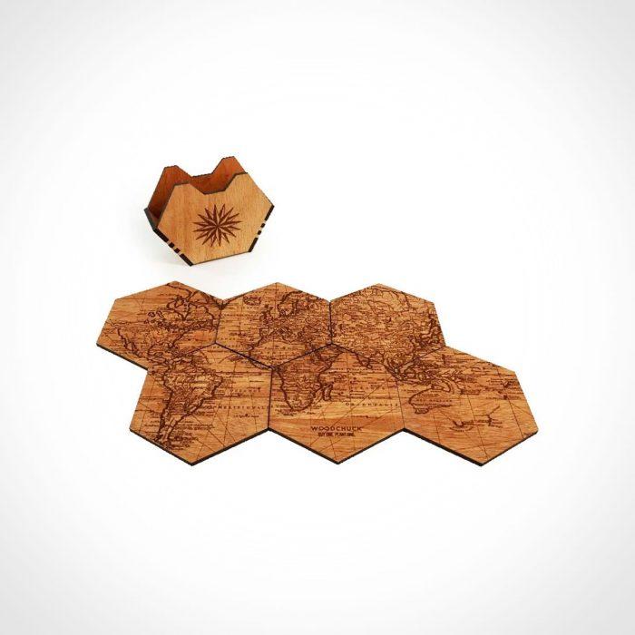 Woodchuck World Map Wood Coaster Set