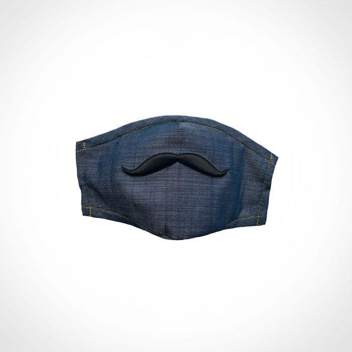 Billie Blooms Denim Mustache Mask